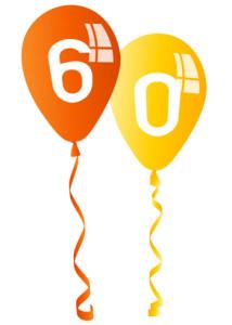 Luftballons zum 60