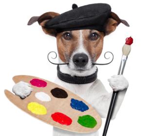 kreativer Hund will gratulieren